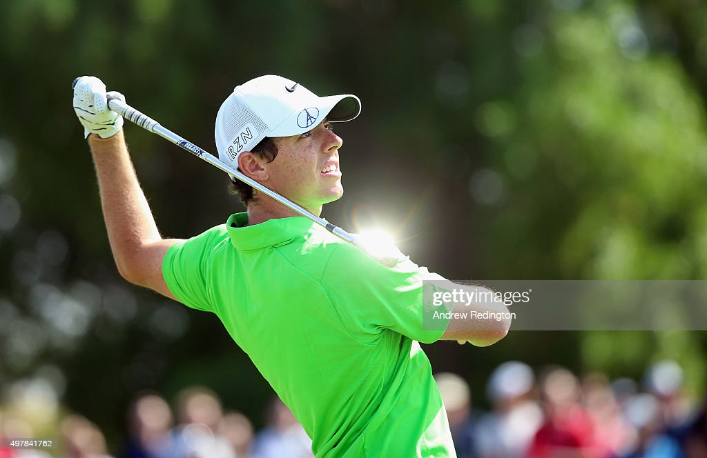 Rory McIlroy of Northern Ireland plays his second shot on the first hole during the first round of the DP World Tour Championship on the Earth Course at Jumeirah Golf Estates on November 19, 2015 in Dubai, United Arab Emirates.