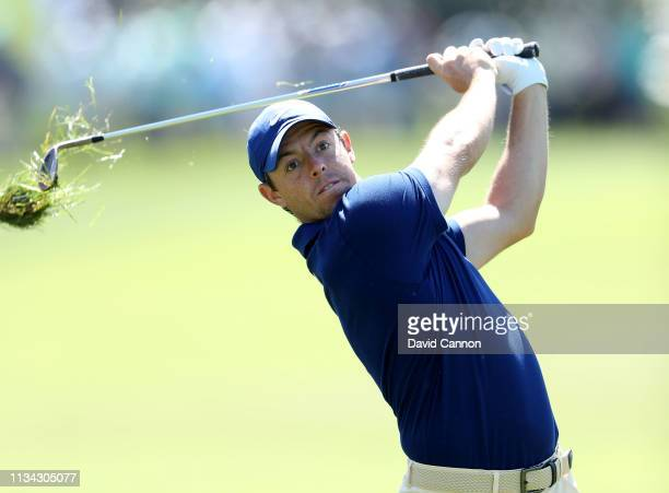Rory McIlroy of Northern Ireland plays his second shot on the par 4, first hole during the first round of the 2019 Arnold Palmer Invitational...