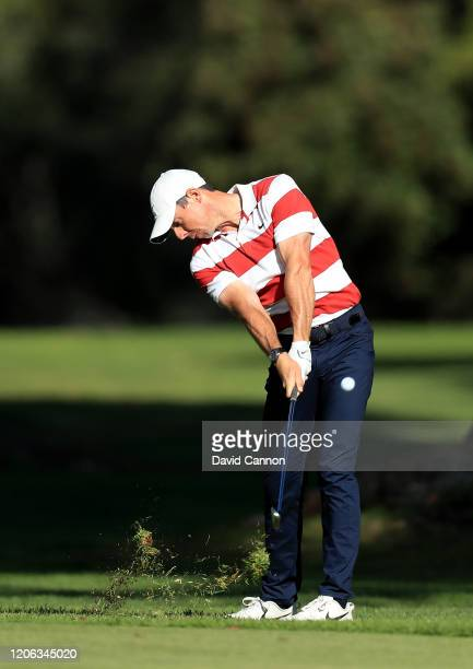 Rory McIlroy of Northern Ireland plays his second shot on the par 4 13th hole during the second round of the Genesis Invitational at The Riviera...