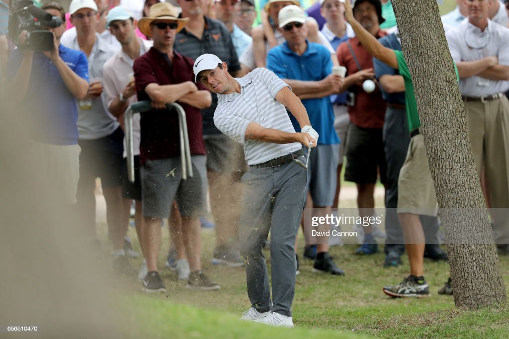 Rory McIlroy of Northern Ireland plays his second shot on the par 4, first hole in his match against Soren Kjeldsen of Denmark during the first round of the 2017 Dell Match Play at Austin Country Club on March 22, 2017 in Austin, Texas.