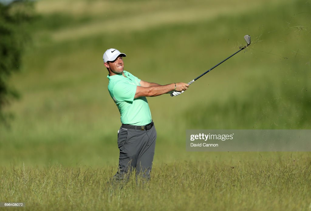 Rory McIlroy of Northern Ireland plays his second shot on the par 4, 15th hole during the first round of the 117th US Open Championship at Erin Hills on June 15, 2017 in Hartford, Wisconsin.