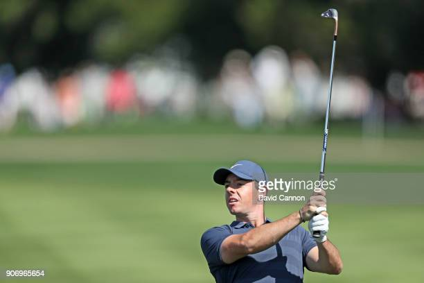 Rory McIlroy of Northern Ireland plays his second shot on the par 4 first hole during the second round of the 2018 Abu Dhabi HSBC Gof Championship at...
