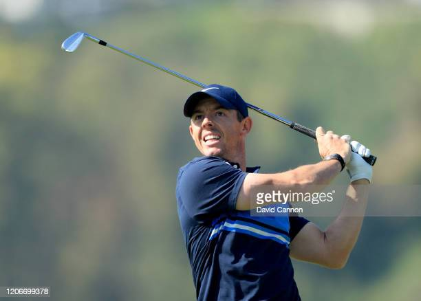 Rory McIlroy of Northern Ireland plays his second shot on the par 5 first hole during the final round of the Genesis Invitational at The Riviera...