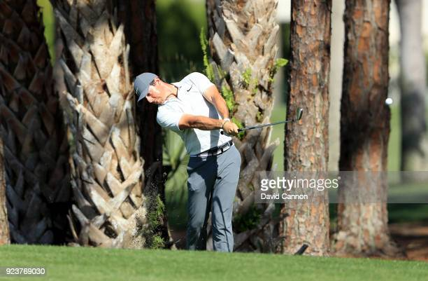 Rory McIlroy of Northern Ireland plays his second shot on the par 5, third hole during the third round of the 2018 Honda Classic on The Champions...