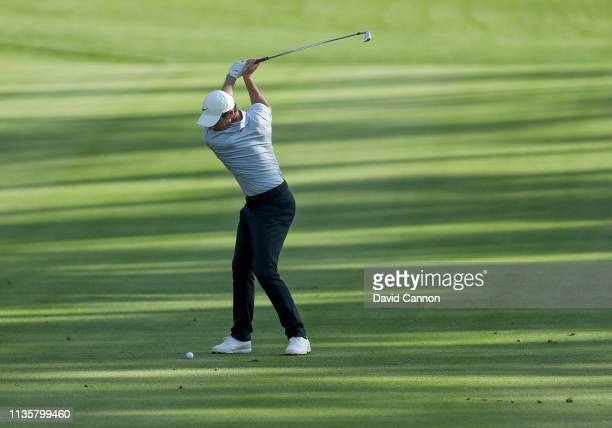 Rory McIlroy of Northern Ireland plays his second shot on the par 511th hole during the first round of the 2019 Players Championship held on the...