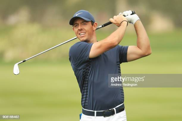 Rory McIlroy of Northern Ireland plays his second shot on the second hole during the final round of the Abu Dhabi HSBC Golf Championship at Abu Dhabi...