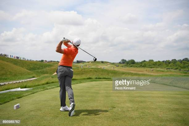 Rory McIlroy of Northern Ireland plays his shot during a practice round prior to the 2017 US Open at Erin Hills on June 14 2017 in Hartford Wisconsin