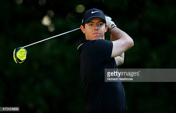 Rory McIlroy of Northern Ireland plays his shot from the 11th tee during round one of THE PLAYERS Championship at the TPC Sawgrass Stadium course on...