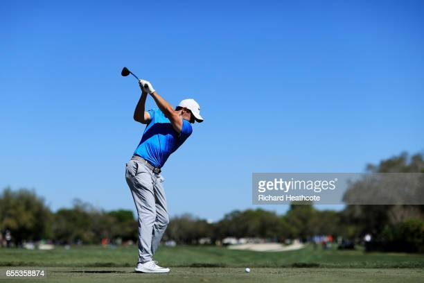 Rory McIlroy of Northern Ireland plays his shot from the 11th tee during the final round of the Arnold Palmer Invitational Presented By MasterCard at...