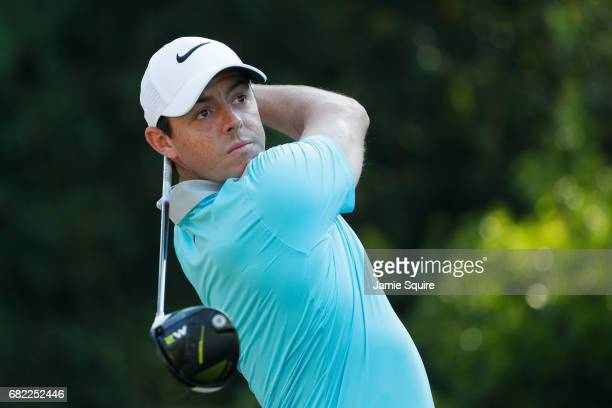 Rory McIlroy of Northern Ireland plays his shot from the 11th tee during the second round of THE PLAYERS Championship at the Stadium course at TPC...