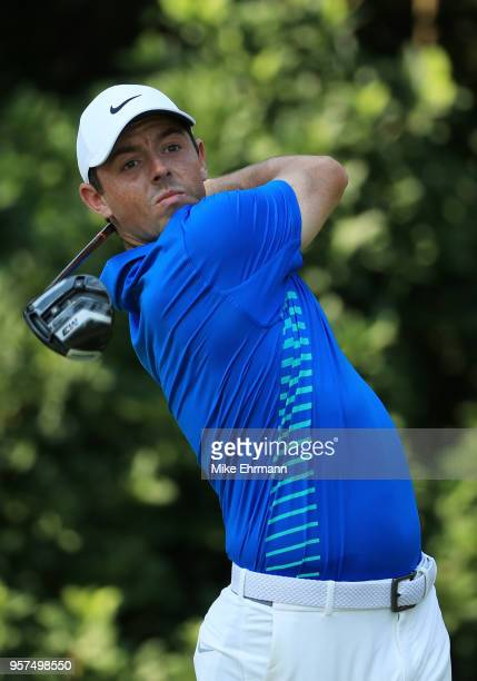 Rory McIlroy of Northern Ireland plays his shot from the 11th tee during the second round of THE PLAYERS Championship on the Stadium Course at TPC...