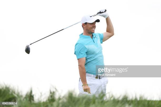 Rory McIlroy of Northern Ireland plays his shot from the 12th tee during the second round of the 2017 US Open at Erin Hills on June 16 2017 in...