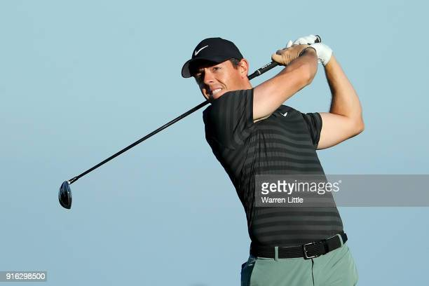 Rory McIlroy of Northern Ireland plays his shot from the 12th tee during Round Two of the ATT Pebble Beach ProAm at Monterey Peninsula Country Club...