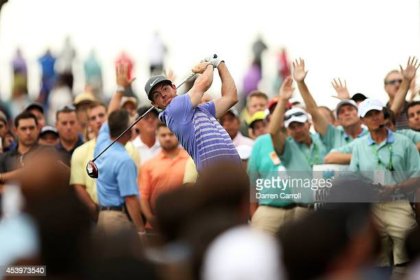 Rory McIlroy of Northern Ireland plays his shot from the 13th tee during the second round of The Barclays at The Ridgewood Country Club on August 22...