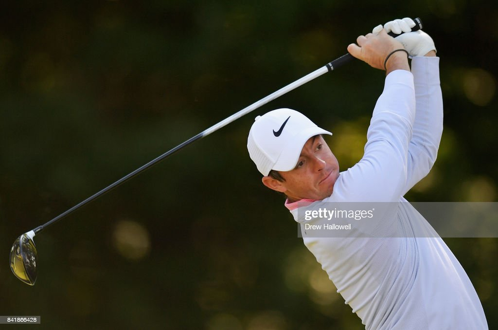 Rory McIlroy of Northern Ireland plays his shot from the 14th tee during round two of the Dell Technologies Championship at TPC Boston on September 2, 2017 in Norton, Massachusetts.