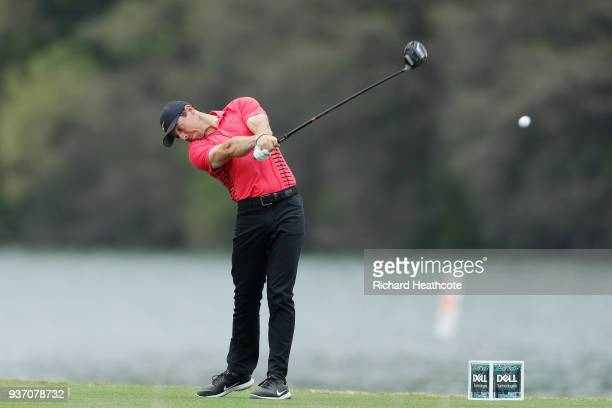 Rory McIlroy of Northern Ireland plays his shot from the 14th tee during the third round of the World Golf ChampionshipsDell Match Play at Austin...
