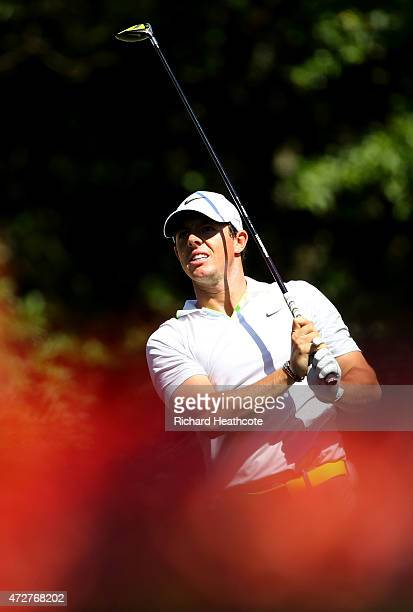 Rory McIlroy of Northern Ireland plays his shot from the 15th tee during round three of THE PLAYERS Championship at the TPC Sawgrass Stadium course...