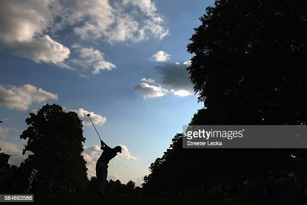 Rory McIlroy of Northern Ireland plays his shot from the 15th tee during the second round of the 2016 PGA Championship at Baltusrol Golf Club on July...