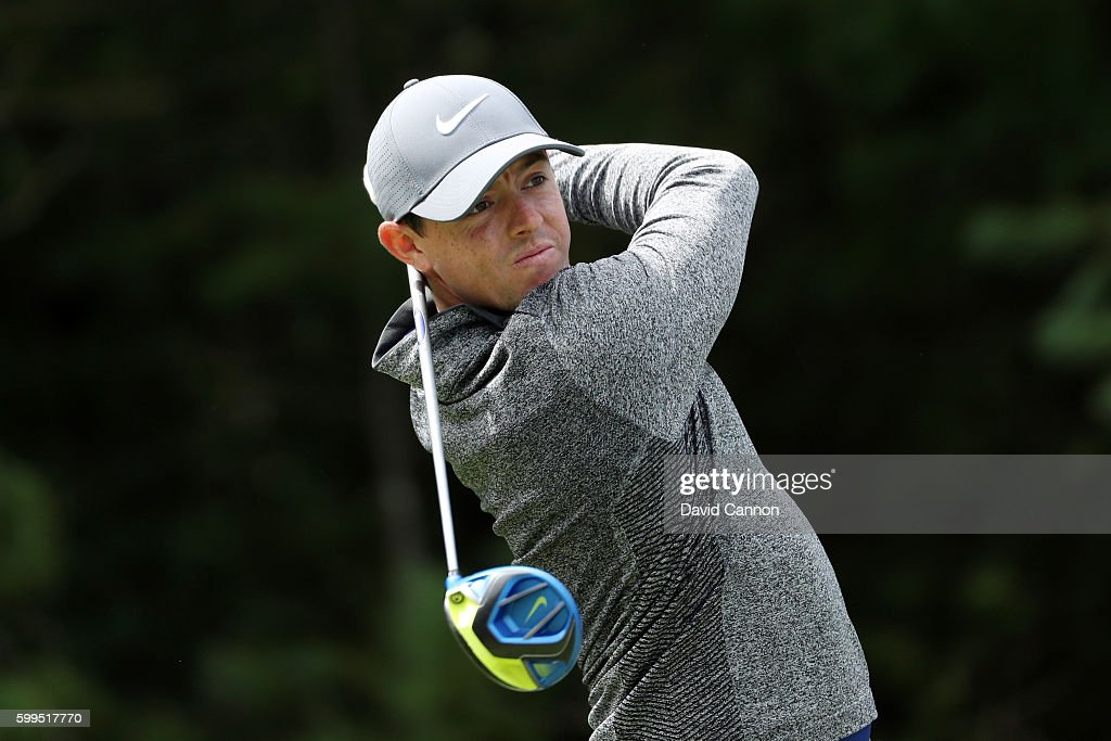 Rory McIlroy of Northern Ireland plays his shot from the 15th tee during the final round of the Deutsche Bank Championship at TPC Boston on September 5, 2016 in Norton, Massachusetts.