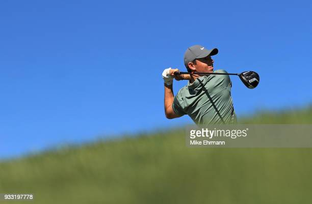 Rory McIlroy of Northern Ireland plays his shot from the 16th tee during the third round at the Arnold Palmer Invitational Presented By MasterCard at...