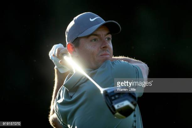 Rory McIlroy of Northern Ireland plays his shot from the 17th tee during the second round of the Genesis Open at Riviera Country Club on February 16...