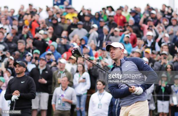 Rory McIlroy of Northern Ireland plays his shot from the 18th tee during the final round of The PLAYERS Championship on The Stadium Course at TPC...