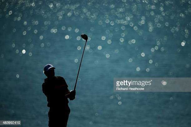 Rory McIlroy of Northern Ireland plays his shot from the 18th tee during the second round of the 2015 PGA Championship at Whistling Straits on August...