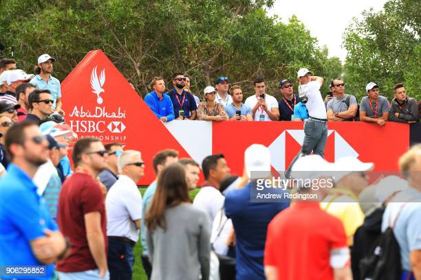 Rory McIlroy of Northern Ireland plays his shot from the eighth tee during round one of the Abu Dhabi HSBC Golf Championship at Abu Dhabi Golf Club...