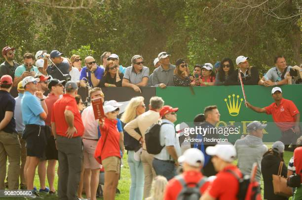 Rory McIlroy of Northern Ireland plays his shot from the eighth tee during the final round of the Abu Dhabi HSBC Golf Championship at Abu Dhabi Golf...