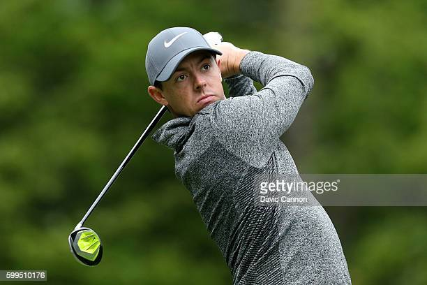Rory McIlroy of Northern Ireland plays his shot from the fifth tee during the final round of the Deutsche Bank Championship at TPC Boston on...