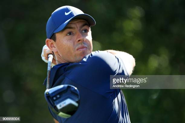 Rory McIlroy of Northern Ireland plays his shot from the fifth tee during round two of the Abu Dhabi HSBC Golf Championship at Abu Dhabi Golf Club on...