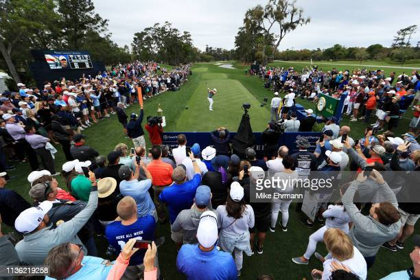 Rory McIlroy of Northern Ireland plays his shot from the first tee during the third round of The PLAYERS Championship on The Stadium Course at TPC...