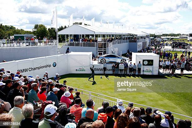 Rory McIlroy of Northern Ireland plays his shot from the first tee during the Third Round of the BMW Championship at Conway Farms Golf Club on...