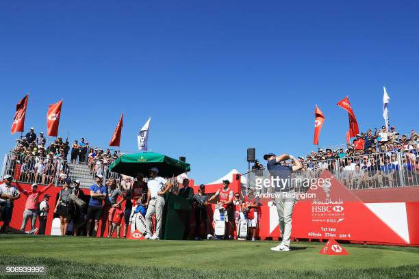 Rory McIlroy of Northern Ireland plays his shot from the first tee during round two of the Abu Dhabi HSBC Golf Championship at Abu Dhabi Golf Club on...