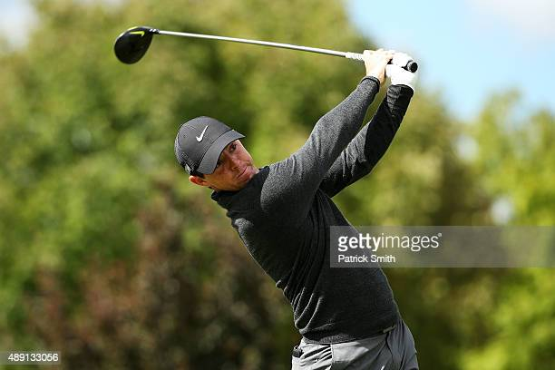 Rory McIlroy of Northern Ireland plays his shot from the fourth tee during the Third Round of the BMW Championship at Conway Farms Golf Club on...