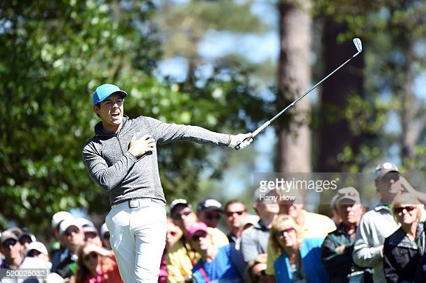 Rory McIlroy of Northern Ireland plays his shot from the fourth tee during the third round of the 2016 Masters Tournament at Augusta National Golf...