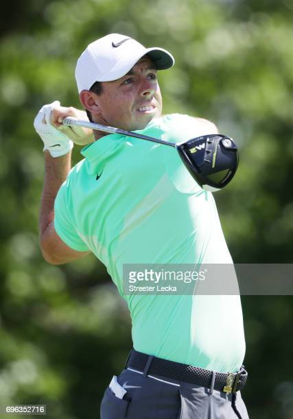 Rory McIlroy of Northern Ireland plays his shot from the fourth tee during the first round of the 2017 US Open at Erin Hills on June 15 2017 in...