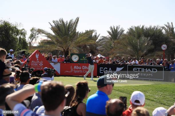 Rory McIlroy of Northern Ireland plays his shot from the ninth tee during round two of the Abu Dhabi HSBC Golf Championship at Abu Dhabi Golf Club on...