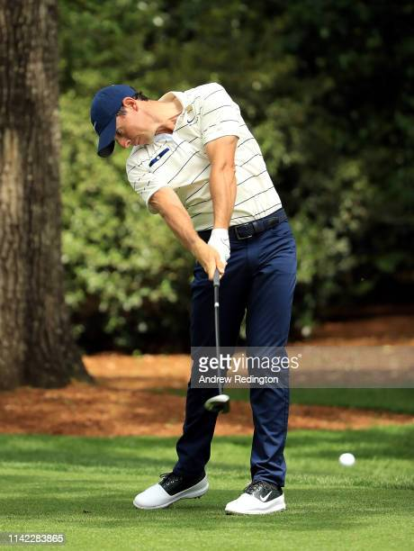 Rory McIlroy of Northern Ireland plays his shot from the second tee during the second round of the Masters at Augusta National Golf Club on April 12...