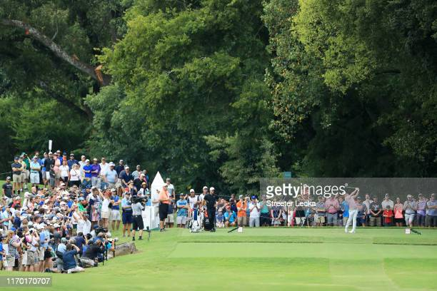 Rory McIlroy of Northern Ireland plays his shot from the second tee during the final round of the TOUR Championship at East Lake Golf Club on August...