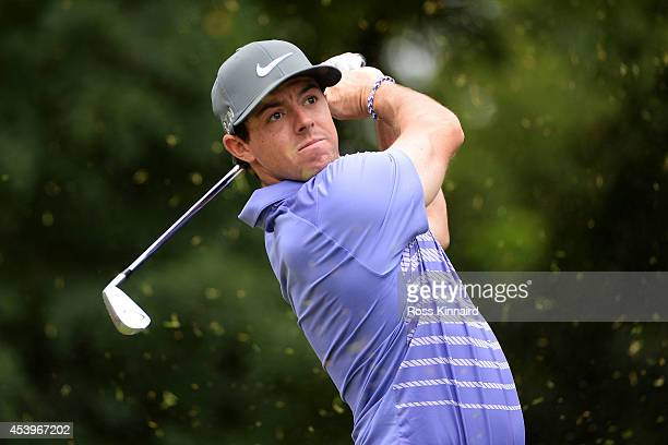 Rory McIlroy of Northern Ireland plays his shot from the second tee during the second round of The Barclays at The Ridgewood Country Club on August...