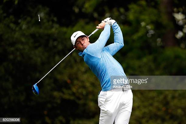 Rory McIlroy of Northern Ireland plays his shot from the second tee during the final round of the 2016 Masters Tournament at Augusta National Golf...