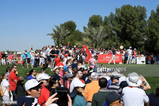 Rory McIlroy of Northern Ireland plays his shot from the second tee during round two of the Abu Dhabi HSBC Golf Championship at Abu Dhabi Golf Club...