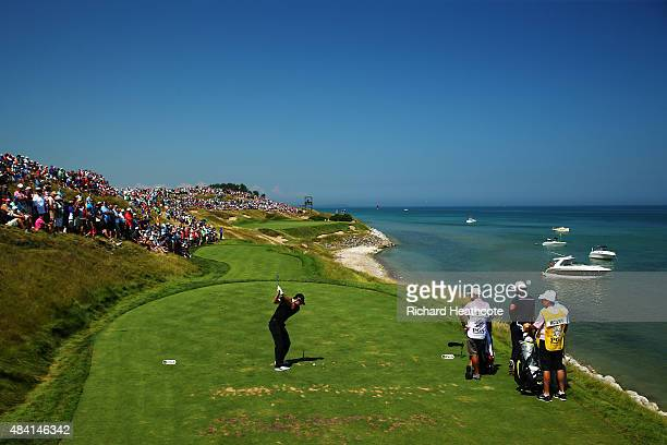 Rory McIlroy of Northern Ireland plays his shot from the seventh tee during the third round of the 2015 PGA Championship at Whistling Straits at on...