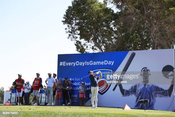 Rory McIlroy of Northern Ireland plays his shot from the seventh tee during round two of the Abu Dhabi HSBC Golf Championship at Abu Dhabi Golf Club...