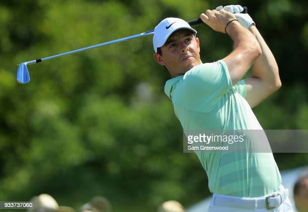 Rory McIlroy of Northern Ireland plays his shot from the seventh tee during the final round at the Arnold Palmer Invitational Presented By MasterCard...