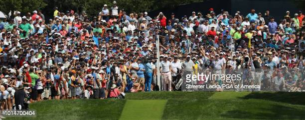 Rory McIlroy of Northern Ireland plays his shot from the sixth tee during the second round of the 2018 PGA Championship at Bellerive Country Club on...