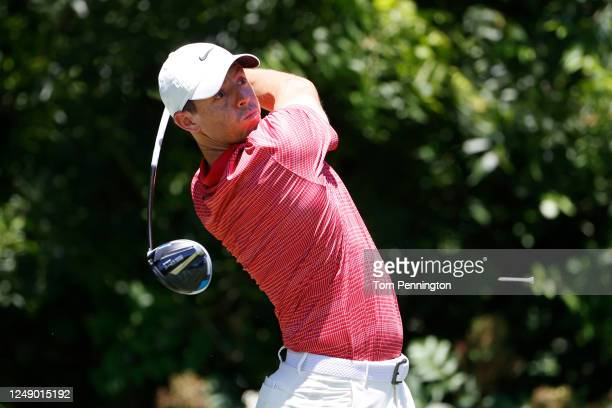 Rory McIlroy of Northern Ireland plays his shot from the sixth tee during the first round of the Charles Schwab Challenge on June 11 2020 at Colonial...