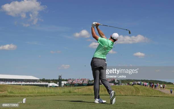 Rory McIlroy of Northern Ireland plays his shot from the sixth tee during the first round of the 2017 US Open at Erin Hills on June 15 2017 in...