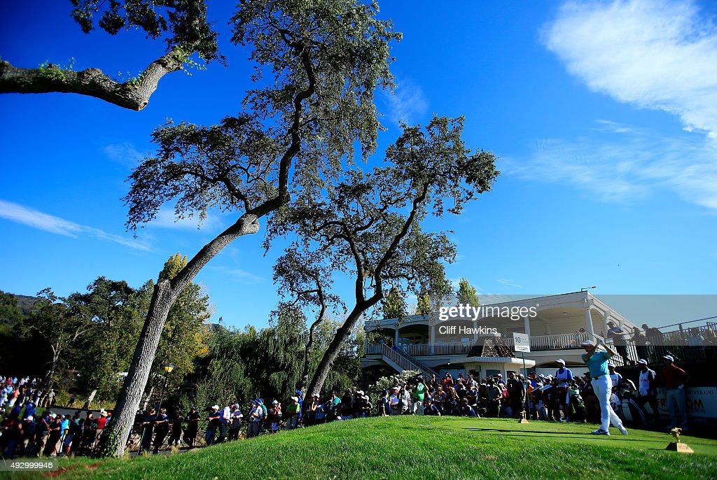 Rory McIlroy of Northern Ireland plays his shot from the tenth tee during the second round of the Frys.com Open on October 16, 2015 at the North Course of the Silverado Resort and Spa in Napa, California.